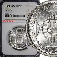 Macau Silver 1952 5 Patacas NGC MS63 1 YEAR TYPE Mintage- 900,000 KM# 5