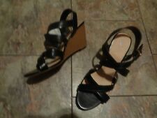 fioni black strappy wedge heels shoes size 11