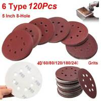 """120PCS 5""""40-240 Grit Hook Loop Pads Sanding Disc Orbital Sandpaper Sheet Sander"""