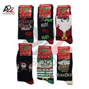 6 Pairs Mens Merry Christmas Novelty Socks Santa SnowmanBonkers Premium Quality