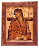 Icona ortodossa bizantina cristiana bizantina su legno Immagine intarsiata...