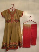 indianpakistiani salwar kameezdress anarkali Tan And Red Cotton Fabricbrand new