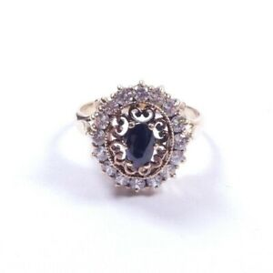 Sapphire and cubic ring size K  2.6grams cluster
