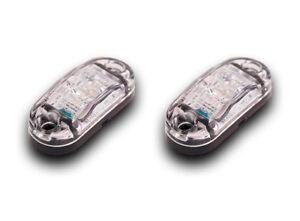 PAIR 24V 2SMD LED WHITE OUTLINE MARKER LIGHTS CAMPER CARAVAN BUS TRUCK TRAILER