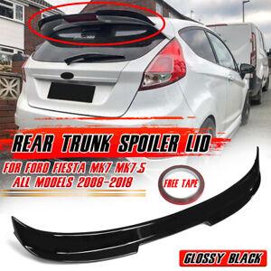 FOR FORD FIESTA MK7 MK7.5 All 2002-2021 Glossy Black Rear Trunk Spoiler Lip