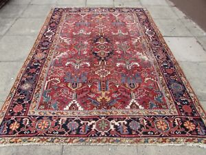 Antique Worn Traditional Hand Made Vintage Oriental Wool Red Carpet 270x196cm