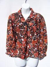 SereNade New York Women's 1 Button Rust Orange Brown Sheer Floral Shirt Cape LG