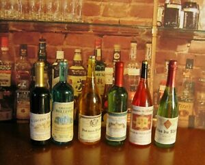 LOT OF 6 DOLLHOUSE WINE BOTTLES, STUNNING ANTIQUE FRENCH LABELS