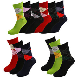 Mens 1-3-6 Pairs Argyle Pattern Diamond Dress Casual Cotton Blend Socks UK 6-11