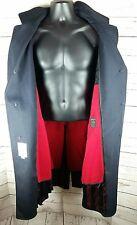 London Fog 42R Suit Coat Trench Snow Cloth Virigin Wool Heavy Black Full Length