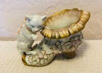 Victorian Figural Porcelain Cat & Shoe Vase German Royal Porcelain C1890