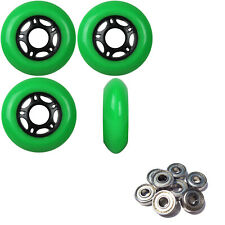Inline Skate Wheels 76mm 89A Outdoor Green Rollerblade 4Pk with Abec 5 Bearings