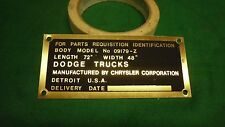 Dodge WWII WC Cargo Body data plate Brass (P78)