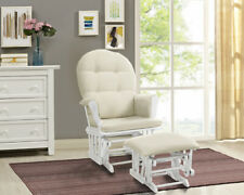Windsor Glider + Ottoman White Finish Beige Cushions Solid wood Rocker Chair