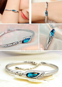 18k White Gold Plated Blue Austrian Crystal Bracelet Bangle Jewellery.