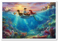 Thomas Kinkade DISNEY-3 Little Mermaid Ariel Prince  Fairy-tale postcard modern