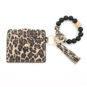 Coin Purse Card Holder Wallets Silicone Wood Beaded Bangle Keychians Key Rings