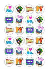 80's PARTY Wafer Rice Paper Cupcake Toppers EDIBLE CAKE DECORATIONS Eighties