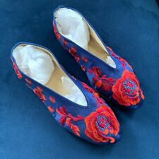 Vtg Vintage Chinese Blue Red Floral Embroidered Shoes Slippers Flats Sz 7