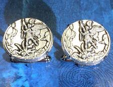 Saint Michael the Archangel Slaying Satan Silver Tone Coin Cufflinks + Gift Box