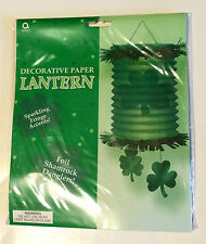 St. Patrick's Day - Decorative Paper Lantern With Foil Shamrock Danglers - New