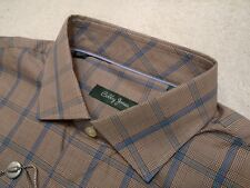 Bobby Jones 100% Cotton Brown Blue Windowpane Check Sport Shirt NWT Large $98.50