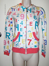 Heatherette XS 00 0 Colorful Zipup Numbers & Letters Hoodie Pink Blue Yellow