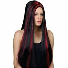 VAMPIRESS VAMP RED BLACK WIG HALLOWEEN NEW FANCY DRESS UP COSTUME ACCESSORY
