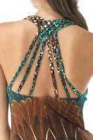 Sky Clothing Brand S Dress Braided Back Feather Bright Green Brown Handkerchief