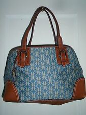 FOSSIL WOMENS BLUE MONOGRAMMED CANVAS BROWN LEATHER SHOULDER BAG HANDBAG