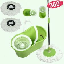 GREEN 360° Floor Cleaner Magic Spin Mop+Bucket+2 Rotating Dry Microfiber Heads