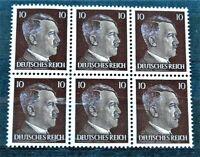 WW2 GENUINE HITLER 3rd REICH ERA GERMAN BLOCK OF 6 STAMPS A.HITLER 10rf MNH