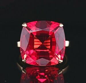 Tiffany & Co 18K YELLOW GOLD RING Gem orange sapphire 14.75ct.cushion cut