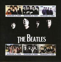 Chad 2017 MNH The Beatles John Lennon Paul McCartney 6v M/S Music Stamps