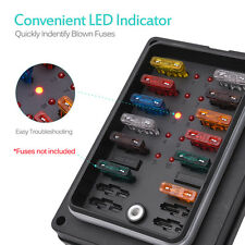 Blade Fuse Box Holder Block LED Indicator IP56 ATC ATO 10-Way 250Amp Waterproof