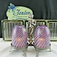FENTON GLASS ANGEL CHERUB/CUPID DOUBLE FAIRY LIGHT LAMP AUBERGINE OPAL SWIRL