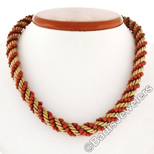 Vintage 14K Yellow Gold Textured Twisted Rope w/ Coral Bead Link Chain Necklace
