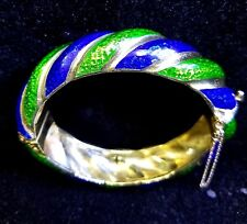 1970s Tiffany & Co 18 Kt Gold Blue Green Enamel Bangle Bracelet Signed Jewelry