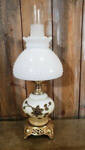 Vintage 3 Way White Milk Glass & Brass Hurricane Lamp Brass Floral Pattern