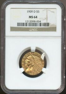 1909 D $5 Gold Indian Half Eagle MS 64 NGC, Nice Surafces and Color!