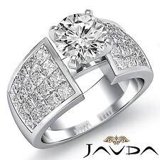 Invisible Set Round Cut Diamond Engagement Ring GIA F VS2 14k White Gold 3.24ct