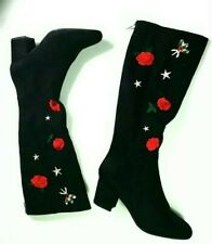 Betsey Johnson Embroidered Baylor Tall Boots - Size 8M Black Red Party