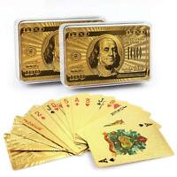 24K Plastic Playing Cards 2 Decks Poker Game Gold Foil Waterproof W/ Storage Box