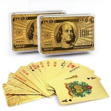 2 Pack Waterproof Golden Playing Cards Collection Plastic Decks Card Games Deck