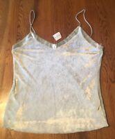 Banana Republic Pale Green/Gray Velvet Tank Top Cami Shirt Size L NWT!