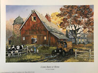 "Terry Doughty ''Come Rain Or Shine"" Print 10""x13.5"" Farm Ranch Dairy Cow Scene"