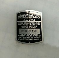 NEW REPRODUCTION Puch Sears Allstate 810.94383 810.94170 MODEL NUMBER PLATE TAG