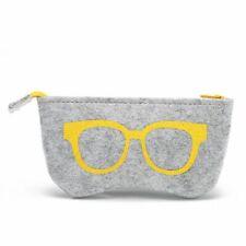 Zipper Style Eyeglasses Case Felt Cloth Printed Design Travelers Eye Wear Holder