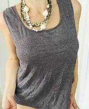 NOUVELLE WOMENS BLOUSE TOP STRIPED STRETCHY GREY CREAM SZ M
