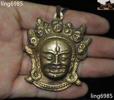 "3"" Tibet Temple Bronze Mahakala Wrathful Deity Buddha Head Statue Amulet Pendant"